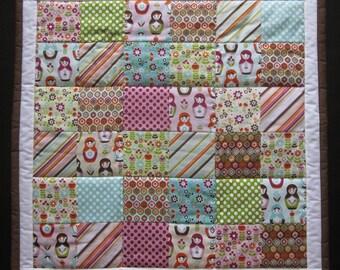 Handmade Patchwork Baby Girl Quilt, Baby Shower Present, Crib/Stroller Quilt, Reversible, Matryoshka Doll, Purple, Brown, Turqouise