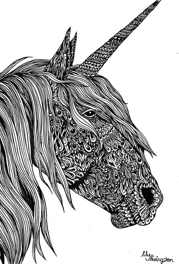 Items Similar To Unicorn Original Illustration A4 Ink