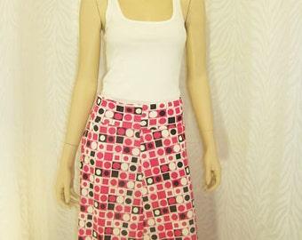 Black/White/Fuschia Polka Dot Flared Skirt