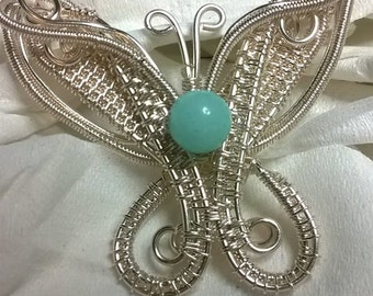 Butterfly Pendant /Brooch with Amazonite