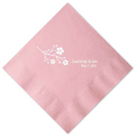 Items similar to spring blossom personalized wedding for Printed wedding napkins