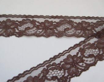 """Brown Lace Trim Ribbon 2"""" inch wide DIY Wedding Lace Invitations Floral Lace Sewing Trim Gift Basket  Bridal Home Decor Wreath WL090"""