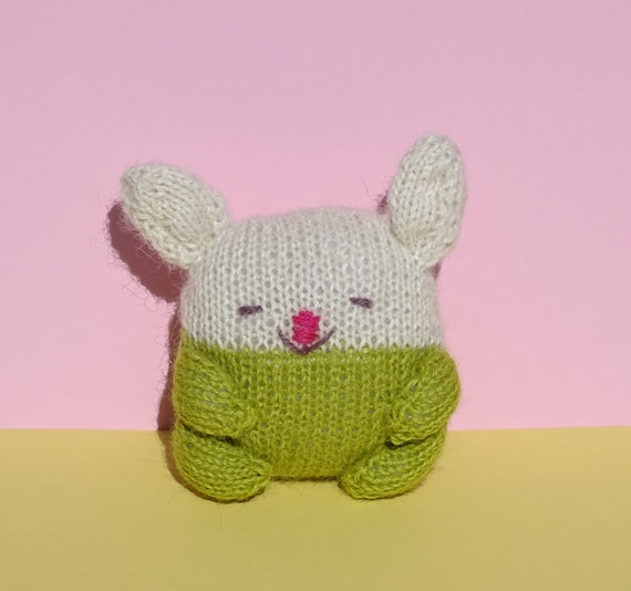 Knit Bunny Alpaca Toy Green and White Bunny Baby by KnittingDrops