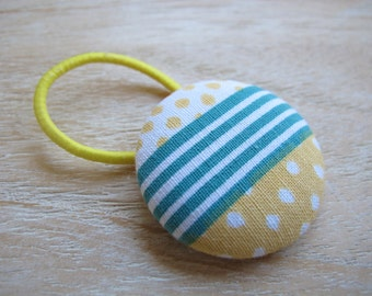 Fabric Covered Button Hair Elastic – Stripes and Dots