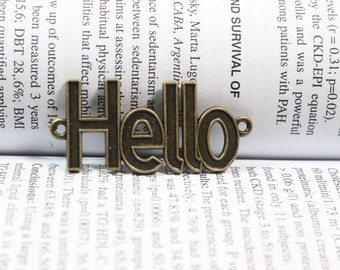 hello charms antique Bronze tone Pendant 41*19mm hello pendant