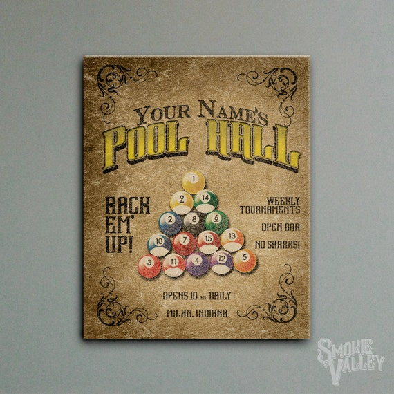 Personalized Pool Hall Sign Decor 16x20 Stretched By