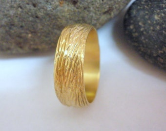 Tree bark wedding band 14k wedding band 18k gold band Wide wedding ring Rustic Textured wedding ring Organic wedding band Anvehu