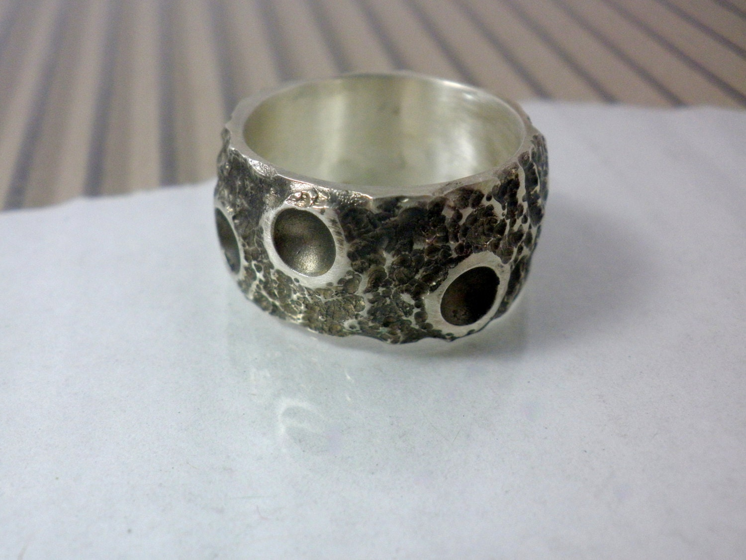 wide wedding ring silver wedding band moonface unique by