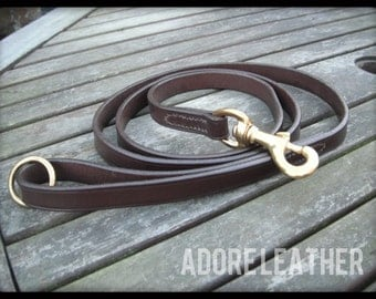 English Leather Dog Leash | Leather Dog Lead | Bridle Leather | Brass Trigger Clip | Hand Loop |