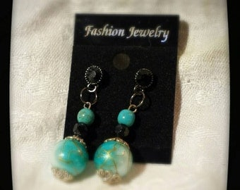 BLACK CZ & TURQUOISE... beaded drops...