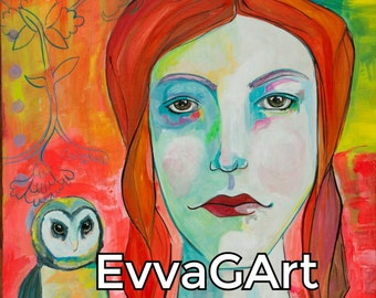 Girl and Owl. 10x10 Mounted print from an original acrylic by Evva Gilkeson.  Owl, owl art, whimsical portrait, acrylics, great gift