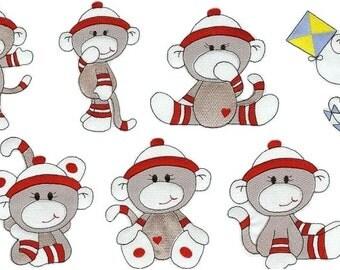 Sock Monkey Boys - INSTANT DOWNLOAD - Machine Embroidery - 4x4 hoop
