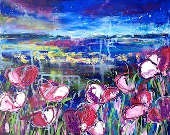 40x40cm Original Acrylic painting. 'Midnight'.