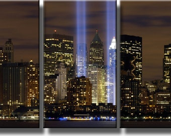 """New York City Twin Towers Tribute with Lights 3PC Picture, Wall Art Decor, Made on Wood, Ready to Hang. (24"""" x 14"""")"""