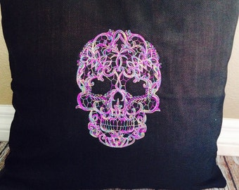 Lacy skull custom embroidered pillow cover.
