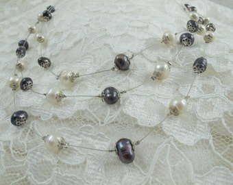 Black Pearl-White Pearl Necklace, Hand-made