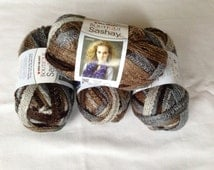 80% OFF - ONE DAY Sale - Grey & Brown Red Heart Boutique Sashay Yarn.