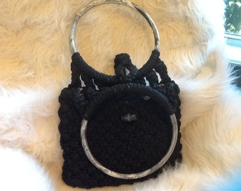 Black knit purse with beading and  marble acrylic handles