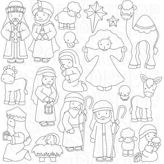 nativity set coloring silhouette pages search results