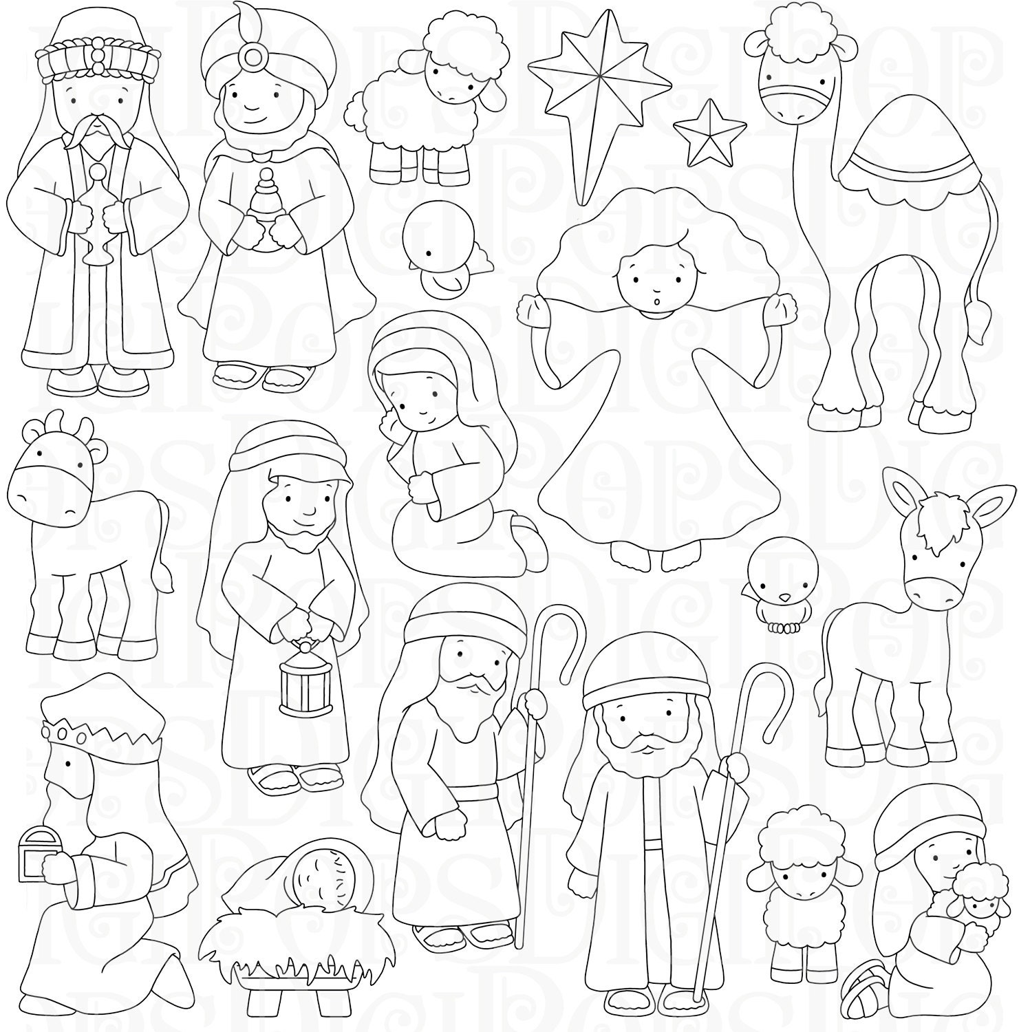 Nativity Digital Clip Art Set and Coloring Pages Personal and