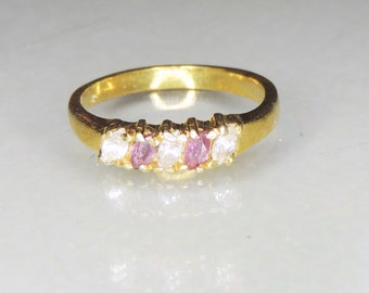 Ruby and CZ Gold Ring sz 7