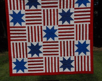 Quilt Stars and Stripes Red White & Blue