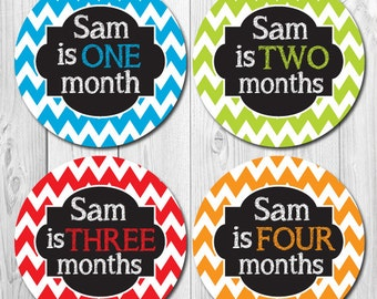 Chevron Boy Monthly Stickers, Baby Boy Month Stickers, Personalized, Custom, Name Stickers, Baby Shower Gift, Months 1-12, Milestone