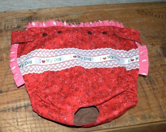 "Dog Diaper. In Season Diaper. In Heat Panty. Red Floral ""I Love My Dog"" Diaper. X-Large."
