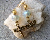 Sea Opal Dragonfly Bird Earrings, Dangle Earrings, Gemstone Jewelry, Gift for Her, Jewelry Gift, Dainty Jewelry, Mother's Day, Boho Chic
