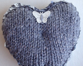 Silver Grey Knitted Silver Sequinned Heart