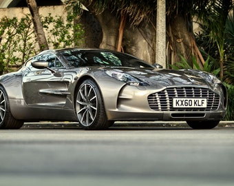 Delicieux Poster Of Aston Martin Grey One 77 Right Front HD Print