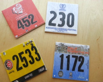 Set of 4 Race Bib Coasters - Your race bibs individually turned into coasters - Race Bib - Gifts for Runners Race bib display