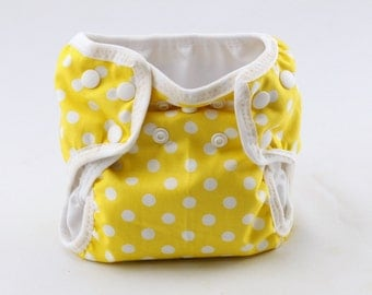 Yellow Dot Newborn Cloth Diaper with umbilical cord snap