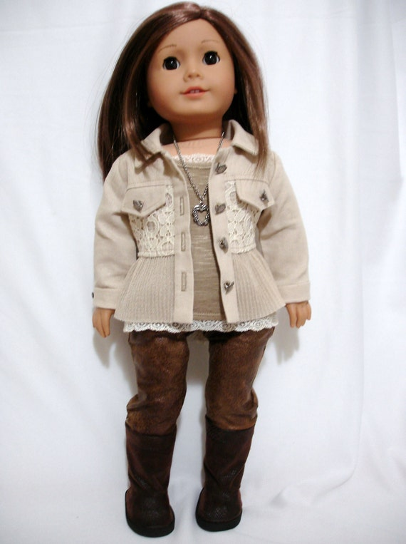 Original design Dressed Up Country Lace Jacket for 18 inch dolls such as American Girl