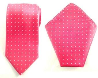 Mens Necktie Pink White Polka Dots 8.5 CM Necktie with Pocket Square. Pink Wedding Necktie. Pink Pocket Square. Groomsmen Tie. Handkerchief