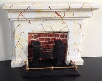 12th scale dolls house fireplace accessory, with marble and brick effect