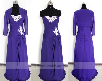 Custom Made 3/4 Sleeves Purple Bridesmaid Dress / Royal Blue Mother of The Bride Dress With Jacket/ Evening Dress By Wishdress