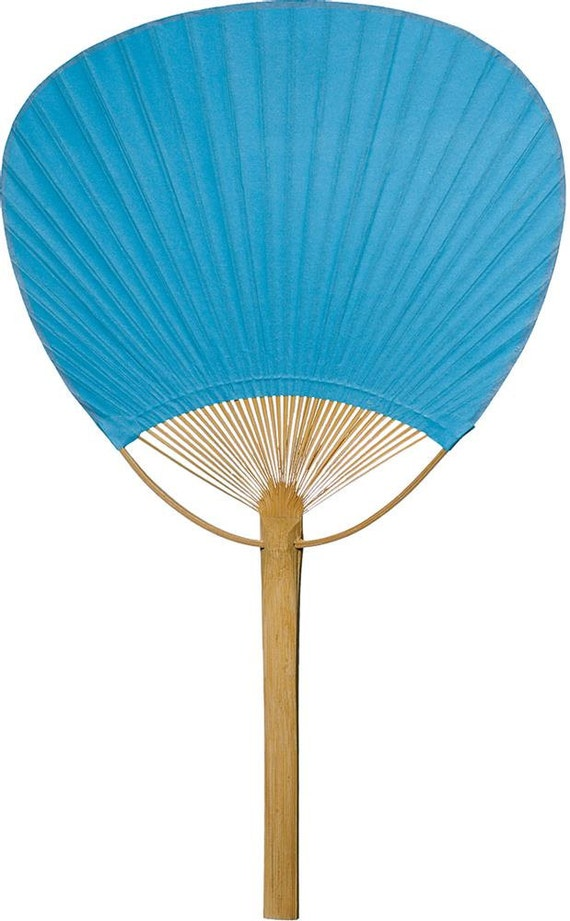 Turquoise blue wedding paddle fan hand held paper by taarabazaar for Wedding paddle fans