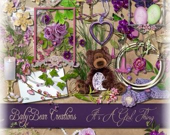 Digital Scrapkit in Feminine Pinks & Purples
