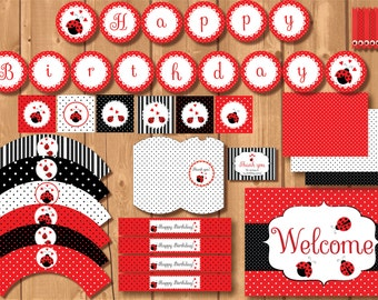ON SALE! Ladybug party package. Ladybug printables. Ladybug birthday party. Girl birthday printables. Instant Download girl printables.
