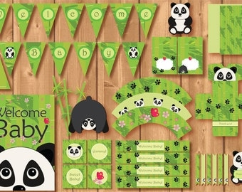 Babyshower Panda Party Package. Instant download. Printable. Panda Babyshower. Babyshower printables.