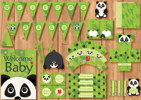 babyshower panda party package instant download printable panda