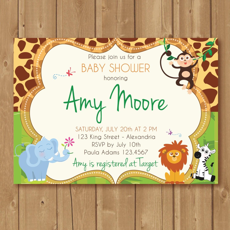 Jungle Babyshower Invitation Babyshower invite with jungle