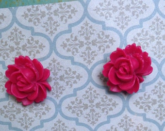 Red rose resin flower post earrings!