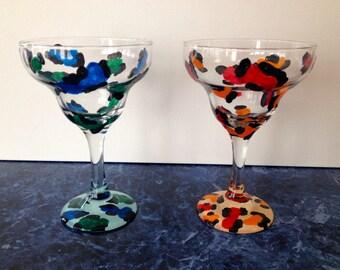 Hand Painted Leopard Print Margarita Glass Set