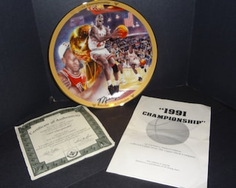 The Micheal Jordan Collection 1991 Championship Limited Edition Commemorative Collector Plate Bradford Exchange NBA Upper Deck