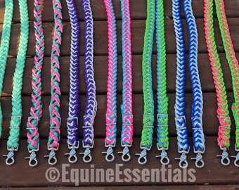Custom 8ft 9-Strand Adjustable Braided Riding Reins ---- Write Color Selection in Order Comments!!!