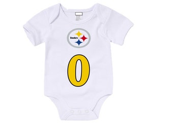 Custom Pittsburg Steelers Onesies / T shirts with custom name and number,