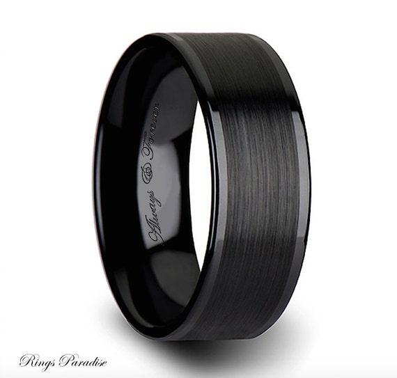 Black Ceramic Ring Mens Ceramic Wedding Band By RingsParadise
