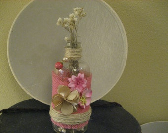 Vintage Pretty in Pink Medicine Bottle